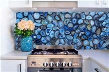 Transparent Wall Panel Natural Gemstone Semi-Precious Stone Blue Agate