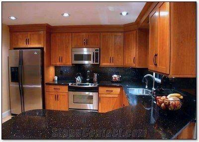 Warangal Golden Black Galaxy Granite Kitchen Island Countertops