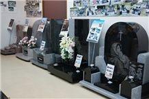 Aoki Black Granite Japanese Style Gravestones, Tombstones