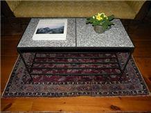 Deer Isle Granite & Black Iron Coffee Table