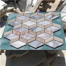 Cream Travertine&White Marble Rhombus Mosaic