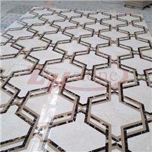 Hexagon Design Polaris&Bursa Dark Beige Marble Waterjet Medallion