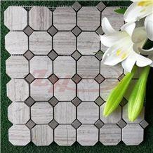 Sliver Grey Travertine Octagon Mosaic