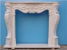 French Style White Marble Sculptured Fireplace