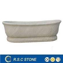 White Marble Bathtub Soaking Bathtub