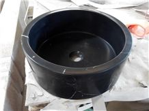 Custom Made Black Marquina Round Sinks Marble Black Bathroom Sinks