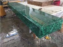 Natural Semiprecious Gemstone Green Malachite Bar Top