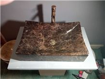 Natural Stone Dark Emperador Marble Rectangular Wash Basin Sinks