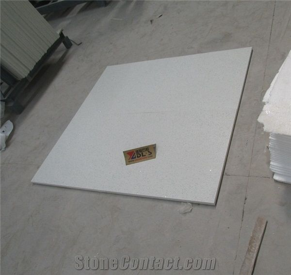 Polished Artificial Crystal White Quartz Floor Tiles From China