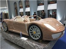 Red India Jacaranda Granite Ferrara Car Sculpture Custom Made