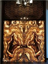 Tiger Onyx Bookmatched for Wall Translucent Design,Light in the Backer