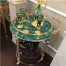 Green Agate Table Top Green Malachite Round Table Green Semiprecious