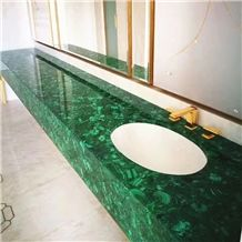 Green Gemestone Agate Bathroom Countertop Green Semiprecious Malachite Vanity Top