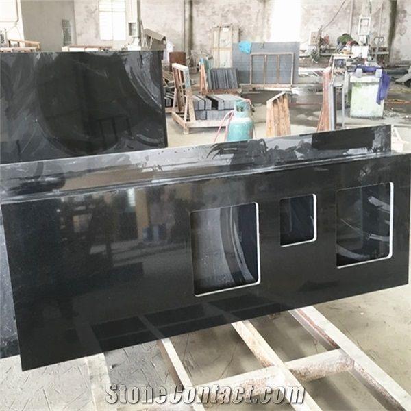 Nero Absoluto Granito China Pure Black Granite Double Sink Countertops