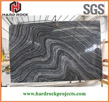 Chinese Silver Wave Marble Slabs & Thin Tiles/Black/Kenya/Zebra/Cheap