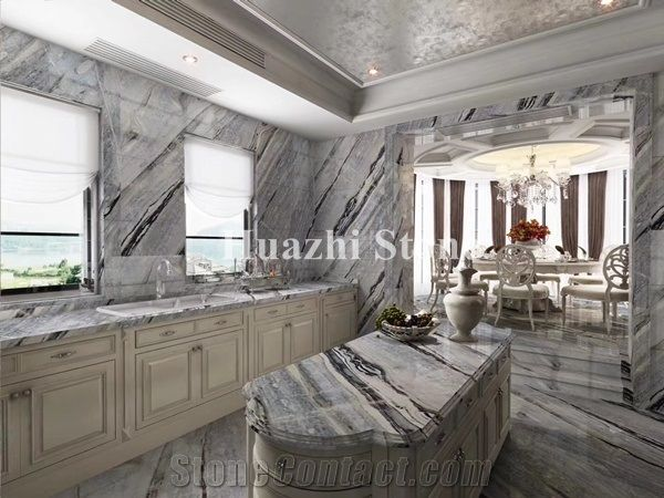 Blue Marble Wall Tiles Slabs Stone Supplier Home Decor Polish