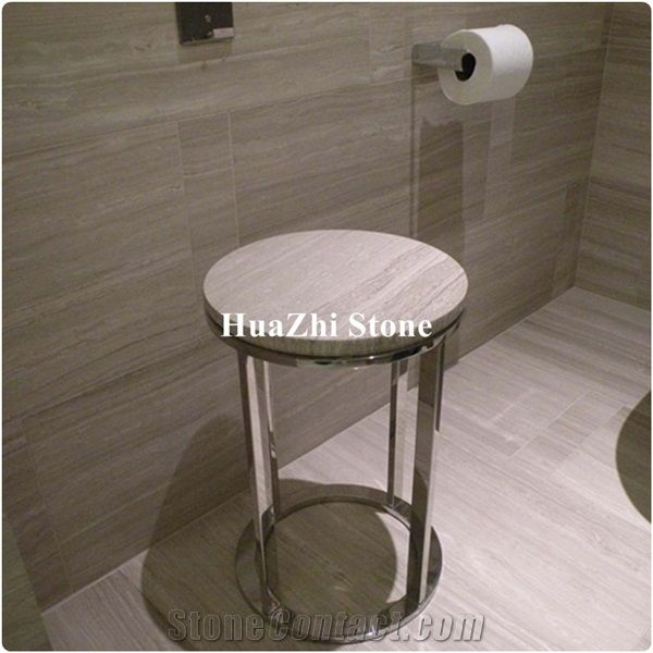 Chinese White Wood Grain Marble For Floor Tiles Cheap Price From
