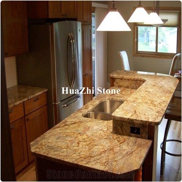 Modular Orange Typhoon Bordeaux Granite Kitchen Countertops