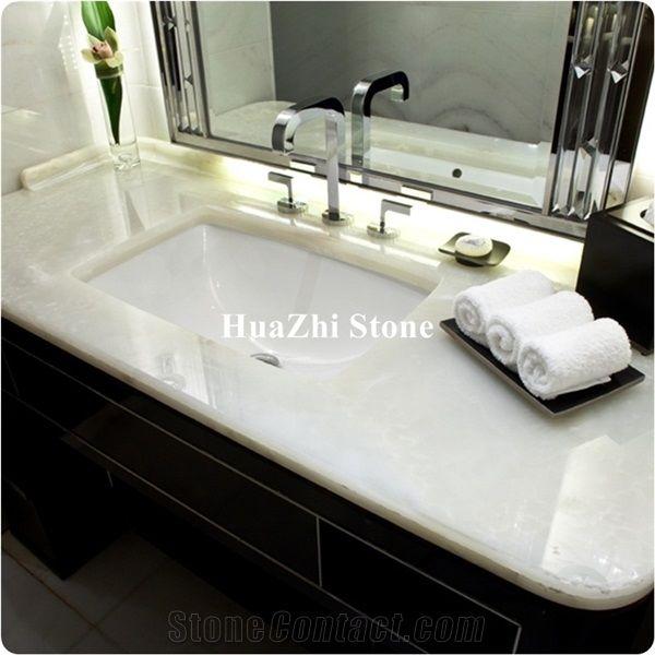 White Onyx Bathroom Countertop Image