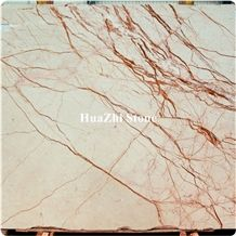 Red Line White Jade Marble Stone Slabs for Building Sizes Pteris Gold