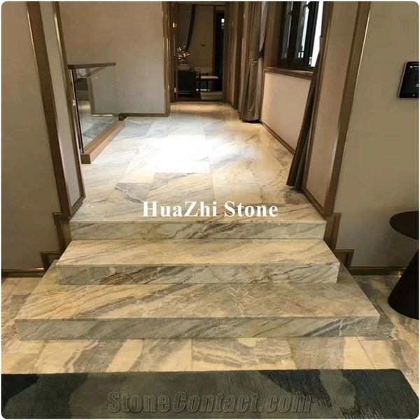 White Jabbok Grey Customized Marble Stair Tread In Hotel Project, Grey Marble  Stair Treads