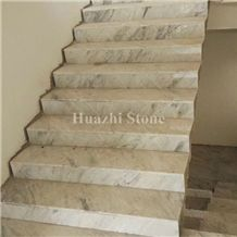 White Marble with Grey Vein/Marble Stairs