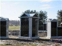 72 Niche Columbarium Wall Shanxi Black Granite in Canada Cemetery