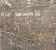 Brown with Green Vein Marble for Floor and Wall Covering