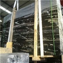 Silver Dragon Chinese Black Portoro Marble Tile & Slab for Wall Floor, China Black Marble