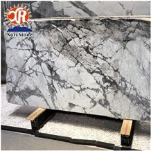 Top Quality Best Price Italian White Invisible Grey Marble Slab