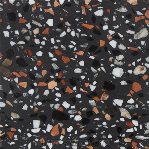Artificial Black Terrazzo Tile With Multi Color Particles