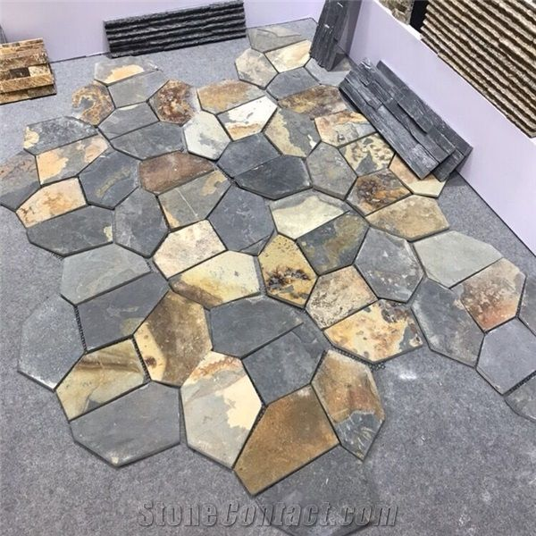 Rusty Meshed Flagstone Multicolor For Outdoor Tile Paving Wall