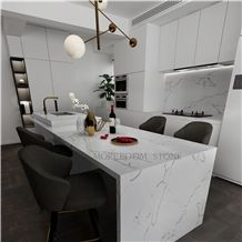 Hot Sale Calacatta White Marble Quartz Countertops