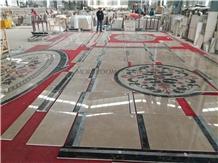 Interior Stone Waterjet Flooring Medallions