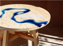 Lagoon Table from Travertine and Resin, Lagoon Coffee Table