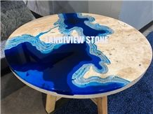 Lagoon Table, Travertine Table Tops
