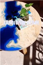 Resin Marble Lagoon Table, Resin Travertine Lagoon Table Top
