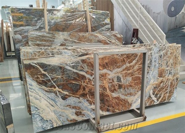 Blue Jeans Marble Blue Veins White Marble Slabs From China