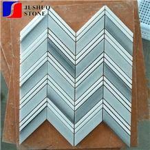 Mixed Color White Carrara+Wooden Veins/Black Marquina Marble Mosaics