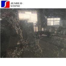 Solid Black Golden Veins/Grains Quartz Slab Stone Tiles for Countertop