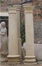 Beige Coral Stone Church Column,Exterior Limestone Pillar Gate Capital