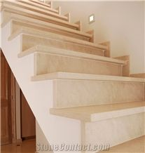 Moca Cream Limestone Interior Honed Villa Staircase Floor Stepping,Risers