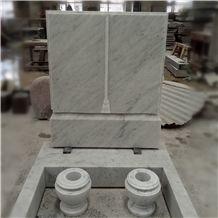 Western Design Carara White Marble Gravestone with Vases