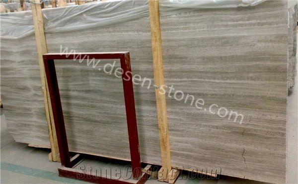 Grey Wood Grain Serpeggiante Marble Stone Slabs Tiles For Countertops