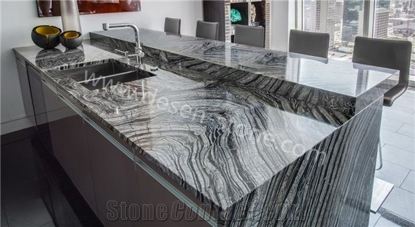 Silver Waves Kenya Black Kitchen Marble Stone Countertops Desk Tops