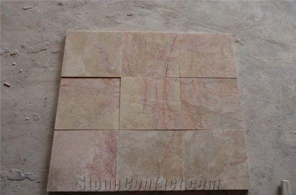 Polished Red Ice Cream Beige Marble Look Floor Tiles