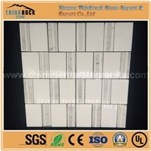 Rectangle Bamboo Chips Carrara and Pure White Mix Marble Mosaic Tiles