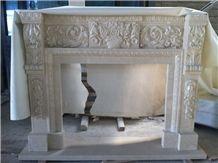 Burdur Cream Marble Fireplace,Sculptured Fireplace Burdur Beige Marble