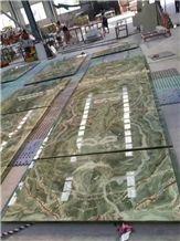 Cloudy Onyx Tiles,Glass Laminated Onyx, Onyx for Bartop,Green Onyx Panels