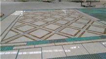 Crema Marfil and Light Emperador Waterjet Medallions,Floor Waterjet